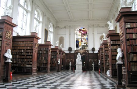 A n interior view of the Trinity College Library, Cambridge, UK, designed by Christopher Wren.