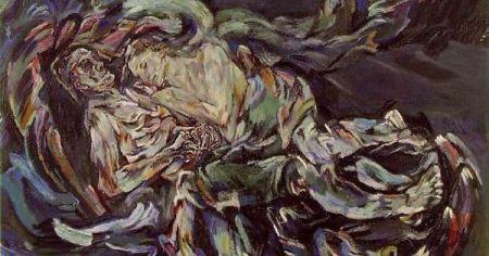 Detail of Oskar Kokoshka's painting Bride of the Wind.
