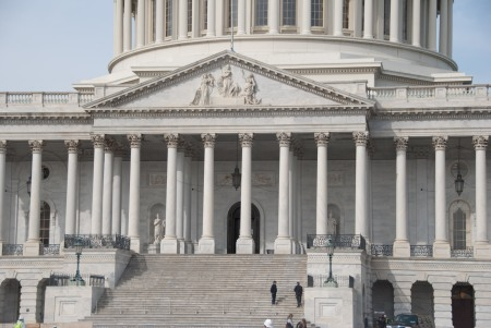 The size of the dome overwhelmed the original east front of the U.S. Capitol, requiring a redesign. Architects Carrère and Hastings provided the plans in 1904, but they were not executed until 1956-1961.