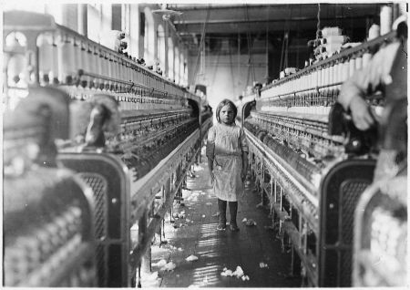 The photograph Child Laborer in Newberry, South Carolina Cotton Mill was taken by Lewis Hine for the National Child Labor Committee.