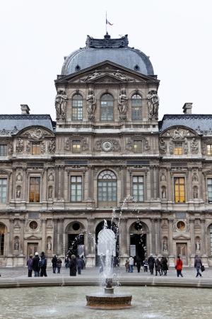 A view of the east (Cour Carrée) facade of the Pavillon de l'Horloge at the Palais du Louvre, which was designed by Jacques Lecamier.