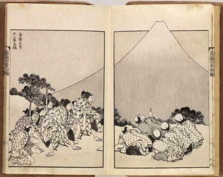 Two facing pages showing prints from Katshushika Hokusai's woodblock series One Hundred Views of Mt. Fuji.