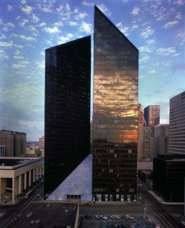 Pennzoil Place, in Houston, Texas, was designed by Philip Johnson.