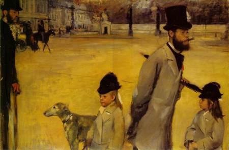 Edgar Degas' Place de la Concorde is also known as Viscount Lepic and his Daughters Crossing the Place de la Concorde.