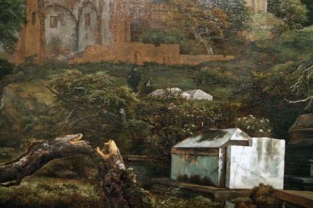 Detail of Jacob van Ruisdael's The Jewish Cemetery (Detroit version).