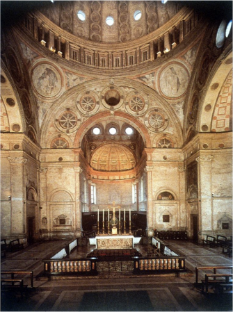 An interior view of the Church of Santa Maria della Grazie in Milan, showing Bramante's apse.