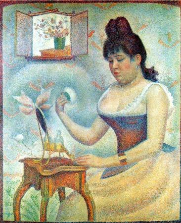 Georges Seurat's pointillist painting, Jeune Femme se Poudrant.