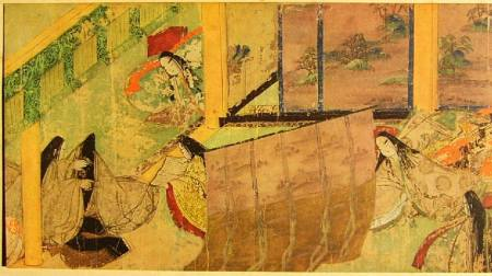 A scene from the Tale of Genji scroll.