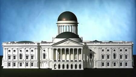 A model of William Thornton's original design for the U.S. Capitol.