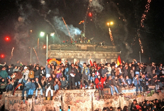 Germans celebrate the fall of the Berlin wall in November 1989.