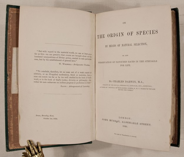A first edition copy of Darwin's Origin of Species.