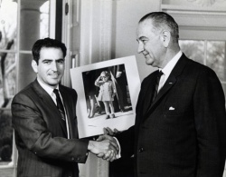 An undated photograph of Stan Stearns with President Lyndon Johnson. UPI Photo.