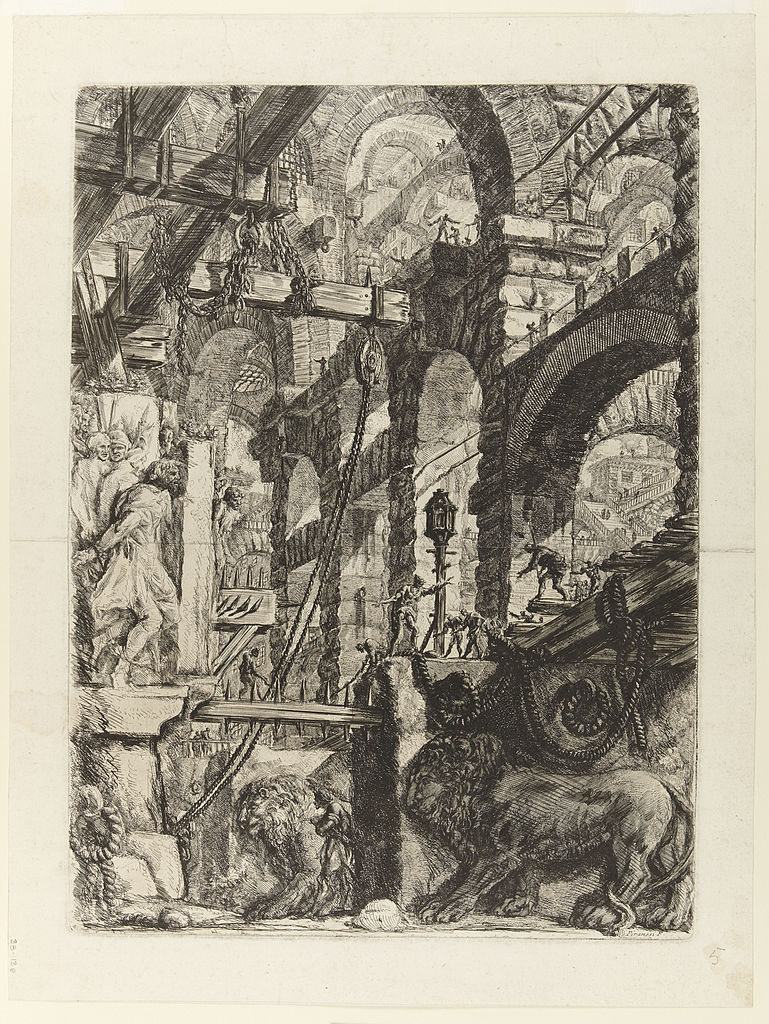 Giovanni_Battista_Piranesi_-_Le_Carceri_d'Invenzione_-_Second_Edition_-_1761_-_05_-_The_Lion_Bas-Reliefs